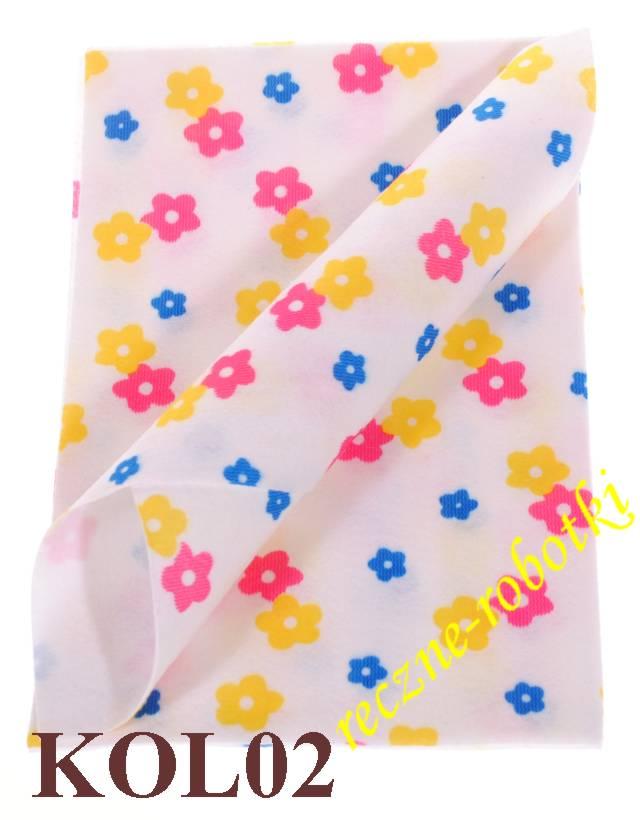 0d6400027495a Filc kolorowe kwiaty w arkuszach 20 X 30 cm - KOL02
